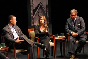 Adriana Waterson talking with fellow panelists Ric Harris and Louis A. Borelli Jr.