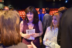 Panelist Donna Goldsmith talking with students after the 2013 Media Summit.