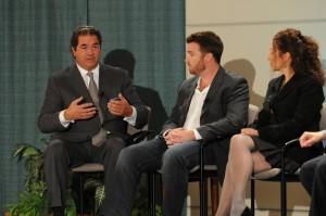 Moderator Louis A. Borrelli Jr. talking with panelists  Matty de Castro and E.B. Moss.