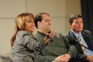 Moderator Benita Zahn,  with panelists Andy Carvin and Jon Landis.