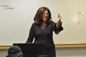 Panelist Trudy Perkins Speaking to a Class